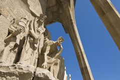Passion facade (part) of Sagrada Familia Royalty Free Stock Photography