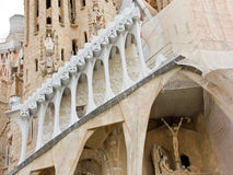 Passion facade of the Sagrada Familia in Barcelona. The Passion Facade is oriented to the west and is the most recently built Royalty Free Stock Image