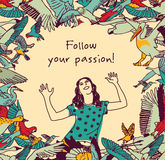 Passion freedom girl birds sign card. Woman in frame with birds and sign. Color vector illustration. EPS 8 Royalty Free Stock Photo