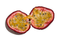 Passion fruit. One passionfruit isolated on white royalty free stock image