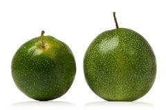 Passion fruit. Green passion fruits isolated over white background Stock Photo