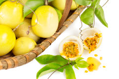 Passion fruit basket Royalty Free Stock Photos