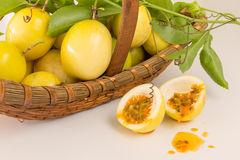Passion fruit basket. On white background Royalty Free Stock Photography