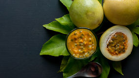 Passion fruit on black background Royalty Free Stock Photography