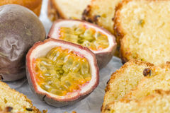 Passion Fruit and Cake Royalty Free Stock Photo