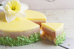 Passion fruit cake, mousse dessert with tropical flavor. Royalty Free Stock Photo