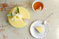 Passion fruit cake, mousse dessert with tropical flavor. Stock Images