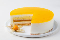Passion fruit cake, mousse dessert tropical flavor Stock Photography