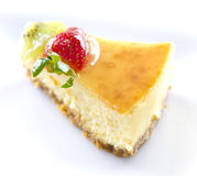 Passion fruit cheese cake slice Royalty Free Stock Images