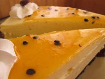 Passion Fruit Cheese Cake Slices. Stock Image