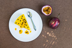 Passion fruit cheesecake on the background. Fresh passion fruit cheesecake on the background Stock Image