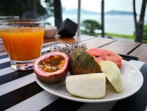 Thai fruits, mango juice, royalty free stock photo
