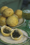 Passion fruit drink. Tropical fruits: Passion fruit (Passiflora edulis Royalty Free Stock Photos