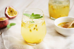 Passion fruit drinks with mint Stock Photography
