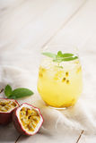 Passion fruit drinks with mint Stock Images