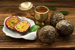 Passion fruit, exotic fruit on old boards. Big close-up, rustic style royalty free stock photos