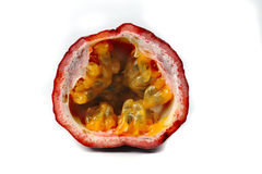 Passion fruit half isolated on white background Royalty Free Stock Images