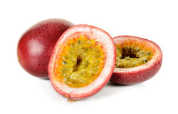 Passion fruit with half isolated Royalty Free Stock Image