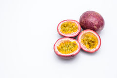 Passion fruit and half isolated on white. Royalty Free Stock Photos