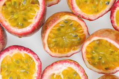 Passion Fruit. Half passion fruit on white background Stock Photo
