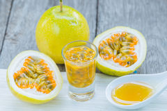 Passion fruit and honey Royalty Free Stock Image