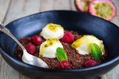Passion fruit ice cream sundae Stock Photography
