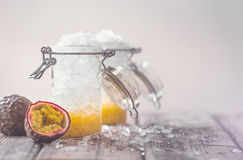 Passion fruit and ice on a hot summer day Stock Image