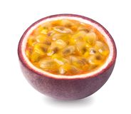 Passion fruit isolated. Isolated passion fruit - a half of passionfruit maracuya isolated on white background. Clipping path included stock images