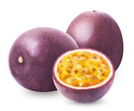 Passion fruit with isolated. Passion fruit isolated. Whole passionfruit and a half of maracuya isolated on white background. Clipping path included royalty free stock image