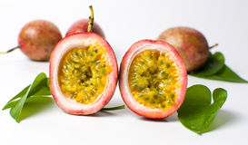 Passion fruit isolated on white background. Open passion fruit isolated on white background Stock Photo