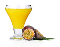 Passion fruit  juice. Passion fruit with fresh juice isolated on white background close-up Royalty Free Stock Photo