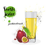 Passion Fruit Juice Fresh Hand Drawn Watercolor Glass On White Background Stock Images