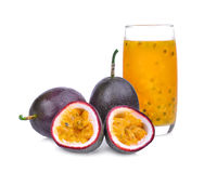 Passion fruit with juice isolated on white. Background Royalty Free Stock Photo