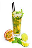 Passion fruit juice with mint and lime Stock Photos