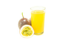 Passion fruit juice with passion fruits on white background Stock Photo
