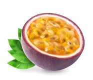 Passion fruit with leaves isolated. Isolated passion fruit with leaves - a half of passionfruit maracuya isolated on white background. Clipping path included stock images