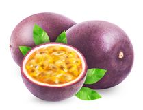 Passion fruit with leaves isolated. Passion fruit isolated. Whole passionfruit and a half of maracuya isolated on white background. Clipping path included stock image