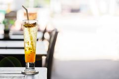 Passion fruit lemonade on the table in a summer cafe in Thailand. copy space stock photos