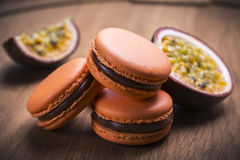 Passion fruit macaroon Royalty Free Stock Image