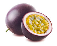 Passion fruit maraquia whole half isolated on white background Royalty Free Stock Photo
