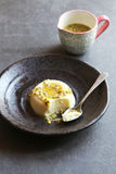 Passion fruit panna cotta on a plate Royalty Free Stock Photography