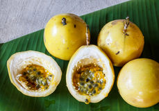 Passion fruit. Passion-fruit put on banana leaf Royalty Free Stock Images
