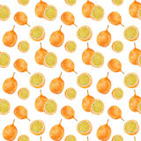 Passion fruit. Seamless watercolor pattern Royalty Free Stock Photos