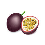 Passion fruit and slice isolated on white Stock Photography