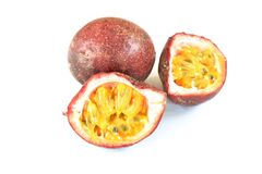 Passion fruit taste sweet and sour half cut on white background