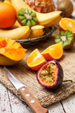 Passion fruit and tropical fruits Stock Photos