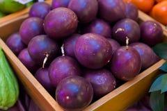 Passion fruit. On wood box Royalty Free Stock Image