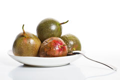 Passion fruits on dish 2 Royalty Free Stock Photography