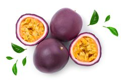 Passion fruits and a half isolated on white background. Isolated maracuya. Top view. Flat lay stock photo