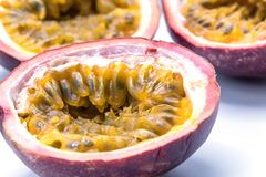 Passion fruits isolate on white background.Passion fruit is a flowering tropical vine. Close up Passion fruits isolate on white background.Passion fruit is a stock images
